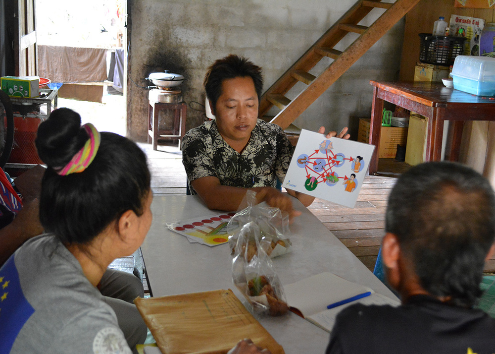 Cho-cho, the local agent, going over the training materials that would be used in discussions with the day-laborers at the border