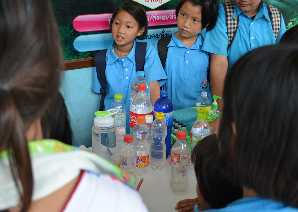 The students had been asked to bring their drinking water from home. They would get to test if it contained any coliform bacteria.