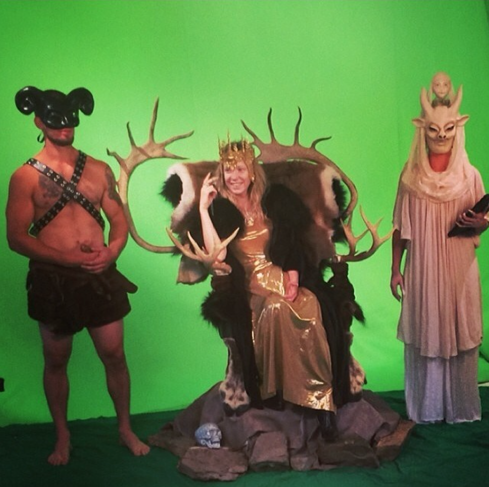 This one snapped by the lovely Nancy Heyl. From left: John, myself, and Katie casually hanging in front of the green screen between takes.