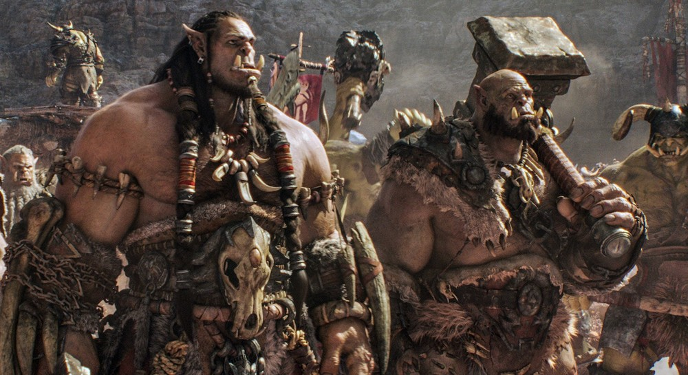 Orc chieftain Durotan leads his Frostwolf Clan alongside his second-in-command, Orgrim. Legendary Pictures, Universal Pictures and ILM