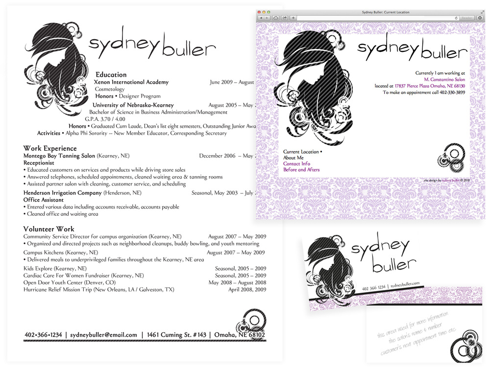 website and collateral materials for a recently graduated hairstylist in omaha nebraska. resume and website were created to secure a job. contact cards and website allow for continuing contact with clients. contact cards have room on the back to write upcoming appointment times, the salon's name and number or notes to or about the client or session