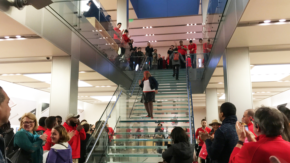 here's a photo from my clapout from the apple store. it's crazy to have all those people clapping for and looking at me! also it looks like my store leader (top of stairs, right) is crying. i'd like to think i did that ;)