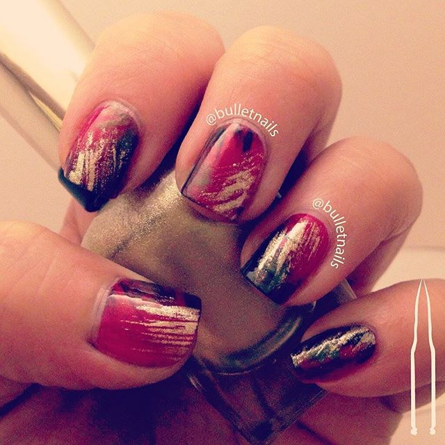 my fall foliage nails :) •• #fall #autumn #leaves #fanbrush #nailcraziesunite #nails #nailart #mani #manicure #nailswag #nailporn #nailsbyme #naildesign #nailsofinstagram #nailartaddict #polishaddict  #allthehashtags