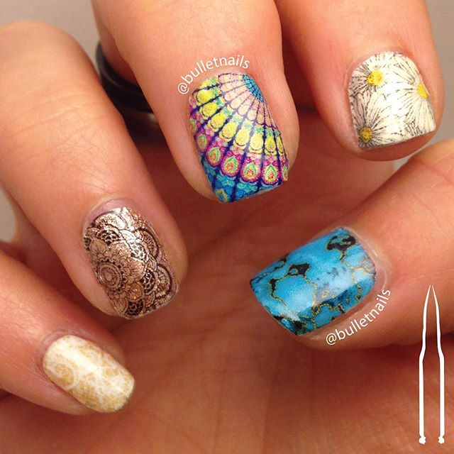 here's my #hippie #boho mani for #nailcraziesunite •• #lace #gold #mandala #patterns #rainbow #flowers #turquoise #nails #nailart #mani #manicure #nailswag #nailporn #nailsbyme #naildesign #nailsofinstagram #nailartaddict #polishaddict  #allthehashtags