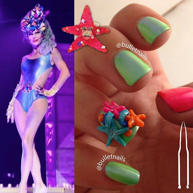 my ode to #princessoctopussy by #trinitytaylor on this week's #dragrace :) •• #RuPolished #dragprincess #cinderfella #themagicqueendom #mermaid #starfish #rupaulsdragrace #rupaul #dragrace #werk #dragqueen #RuPolish #rupaulish