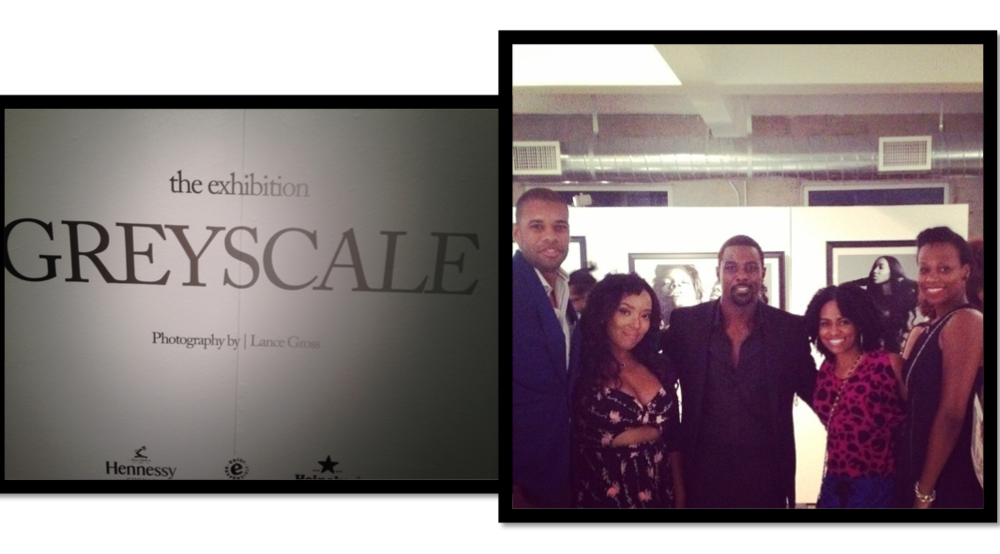 The milk + honey crew (starlynn,  lance, asha & jeanette) at Lance's GREYSCALE exhibit sponsored by Hennessy.