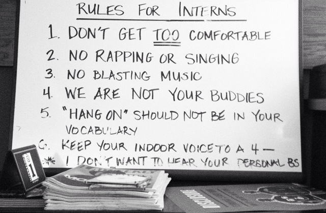 posted intern rules at interscope records.