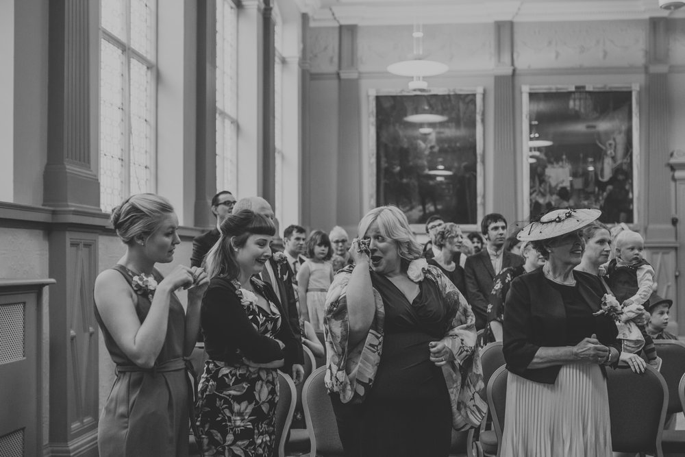 Emotional wedding ceremony photography in bristol registry office