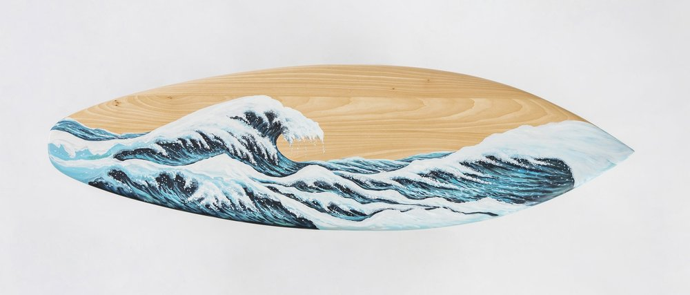 MOTUS, hand-painted surf seat,with an image reminiscent of  The Great Wave off Kanagawa.