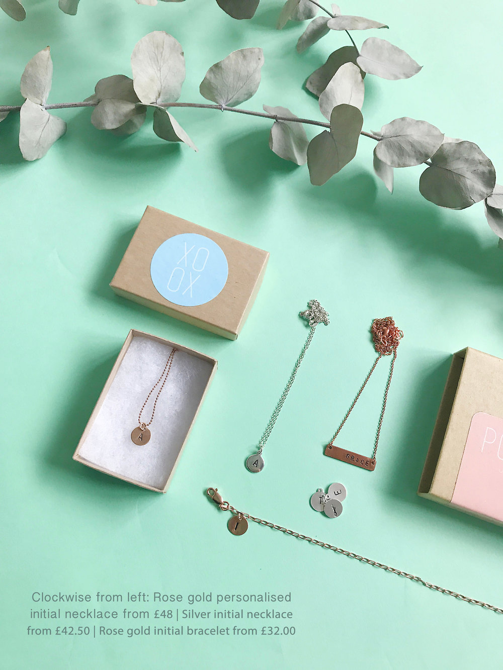 Christmas jewellery gift guide personalised jewellery mint flatlay.jpg