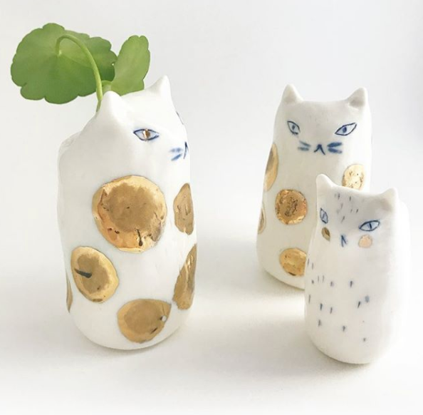 Bird Can Fox ceramic cat figurines