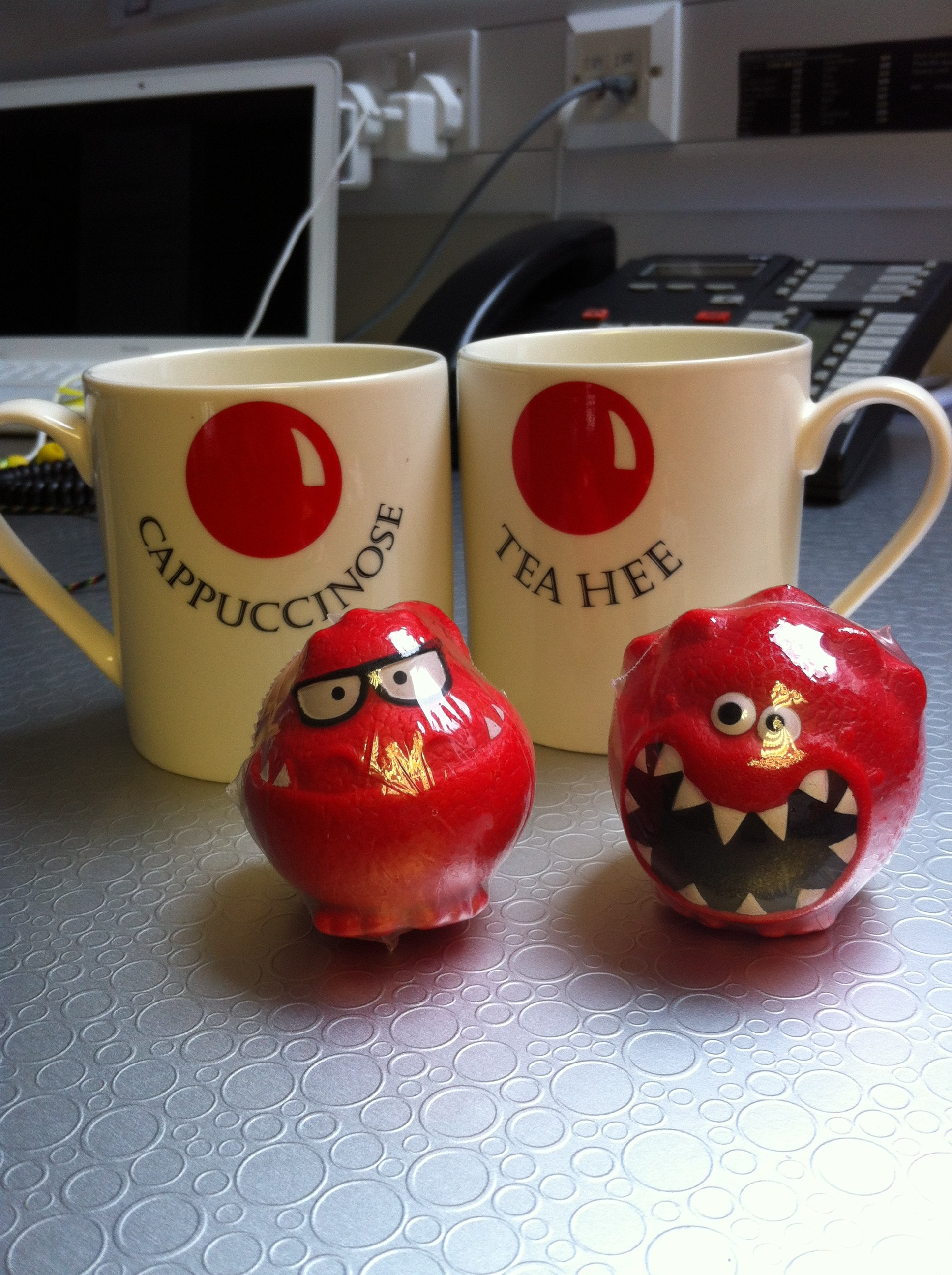 red noses and comic relief mugs