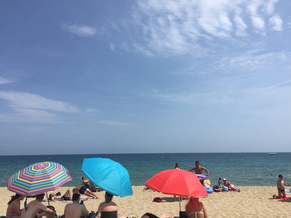 Enjoying the sea, sand and sangria!