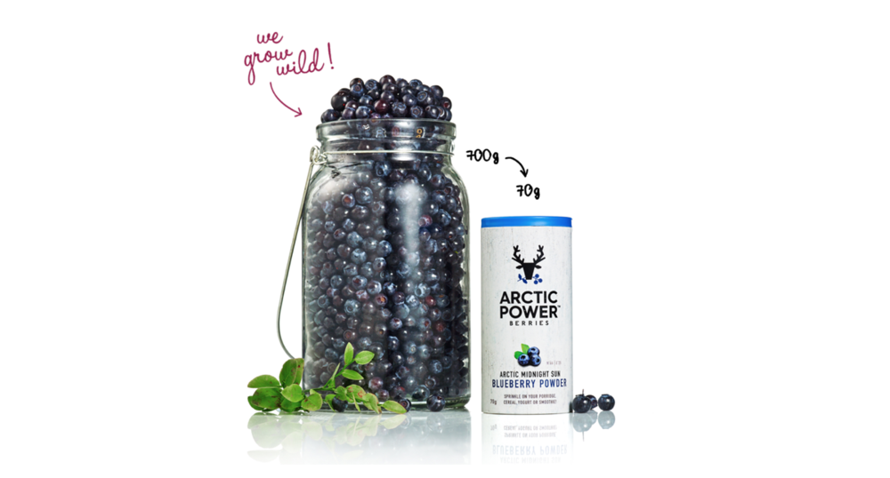 A teaspoon of Arctic Blueberry powder is equivalent to a handful of fresh berries