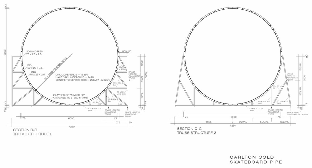 construction drawing for skateboard pipe set build