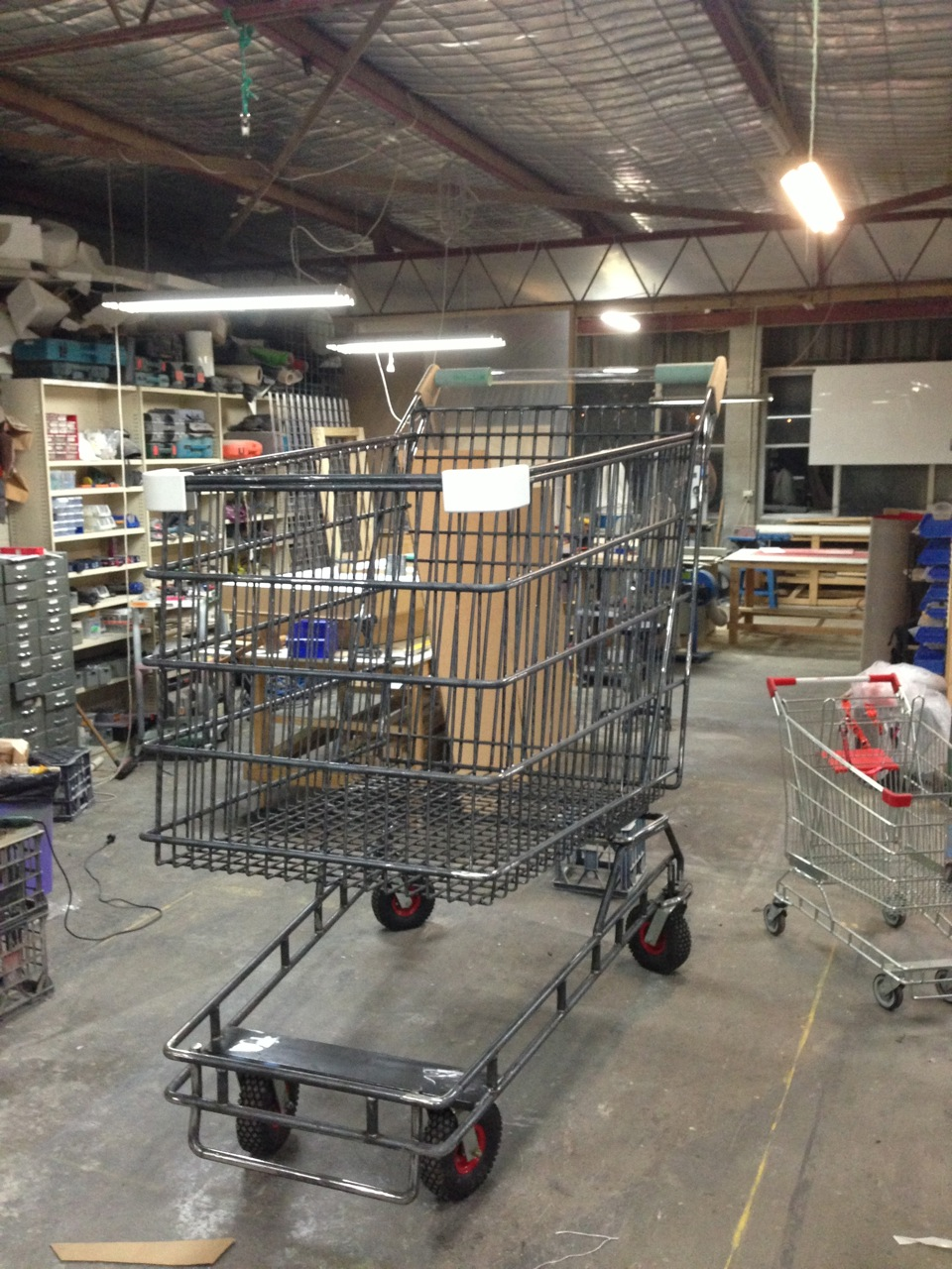 Shopping trolley under construction at Yippee Ki-Yay workshop