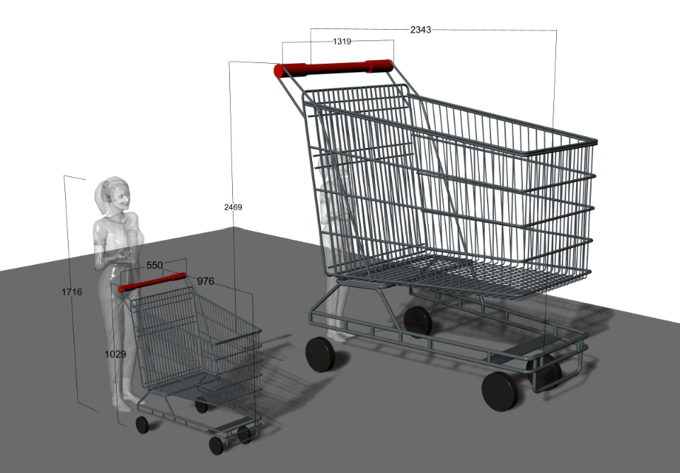 concept illustration of oversized shopping trolley by Tony Drew