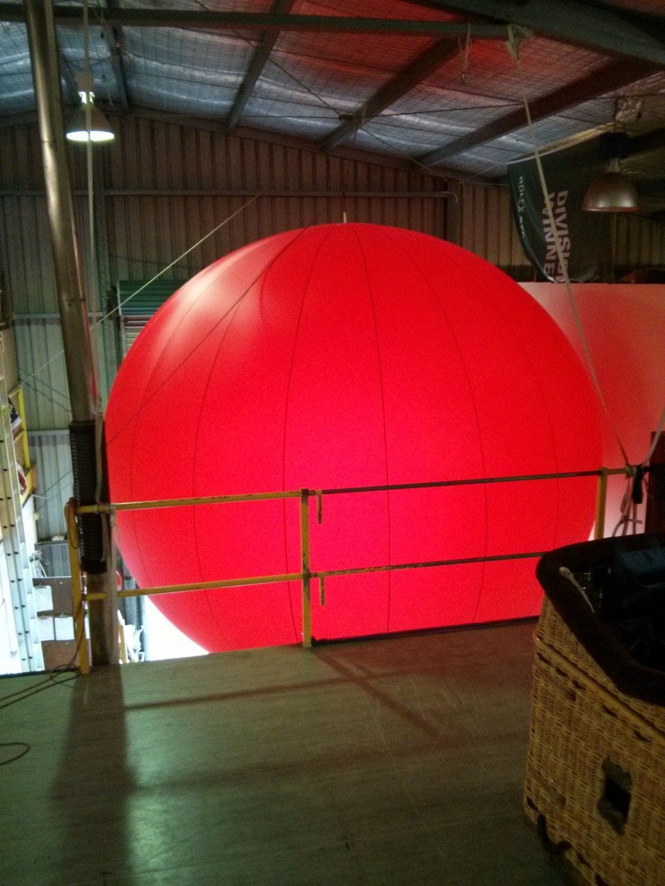 first inflation at hot air balloon workshop