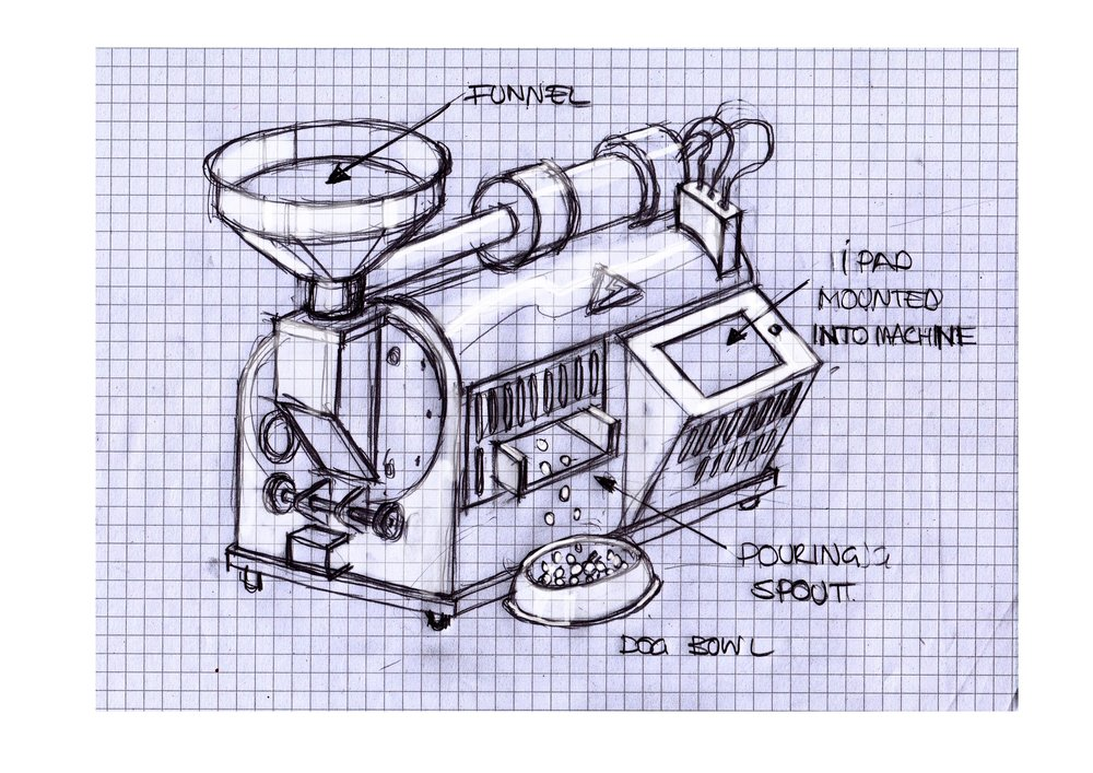 illustration of dog food processing machine