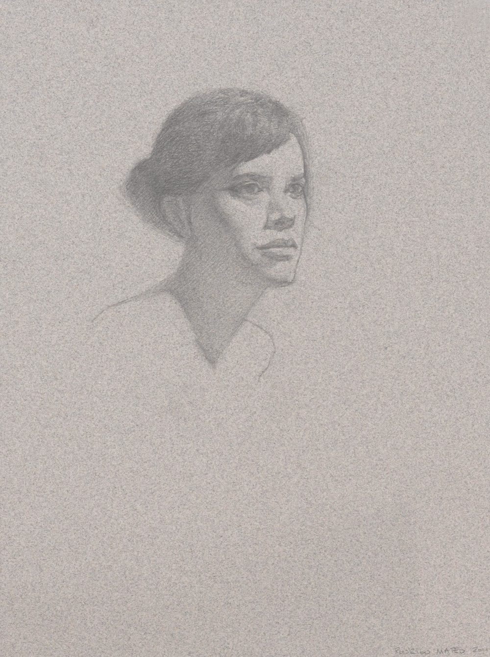 Jessica. 9x12. Graphite on toned paper.