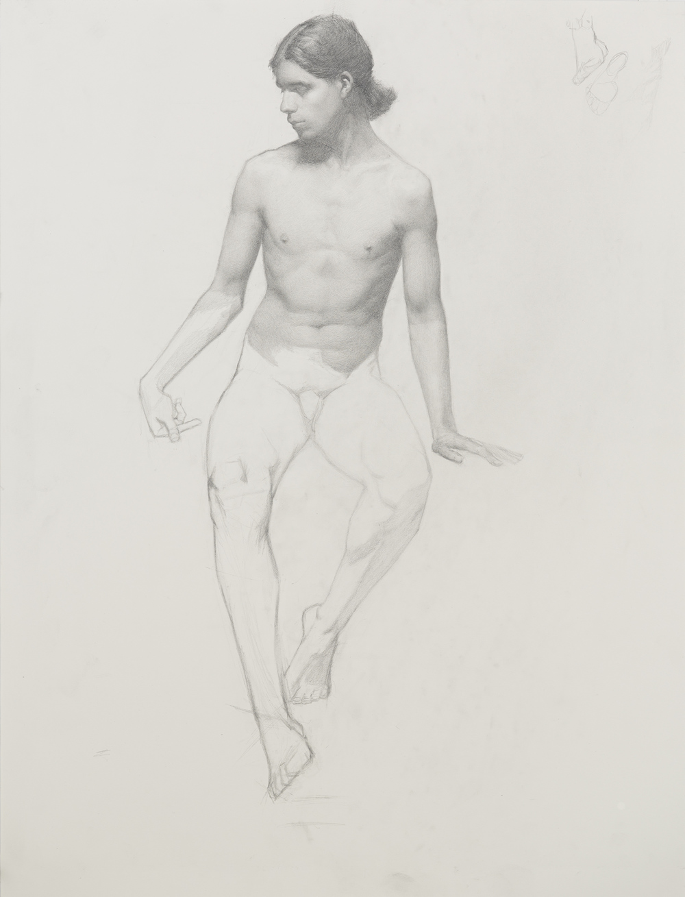 Seated Male Nude. 18x24. Graphite on paper.