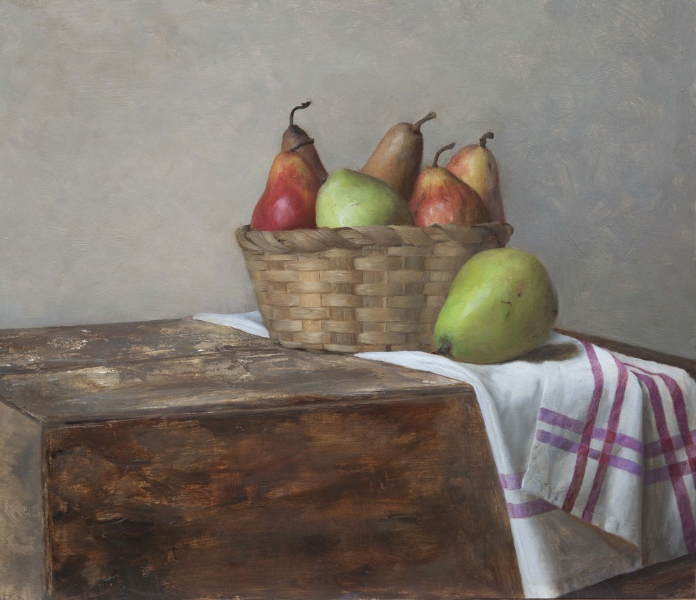 Basket of Pears. 12x16. Oil on Panel