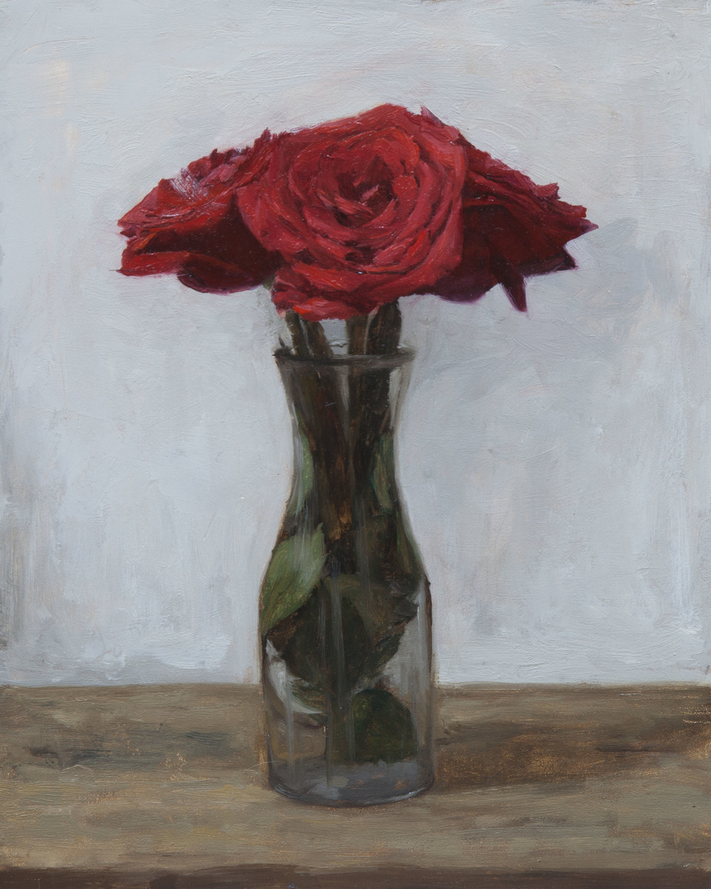 Red Roses. 8x10. Oil on Panel