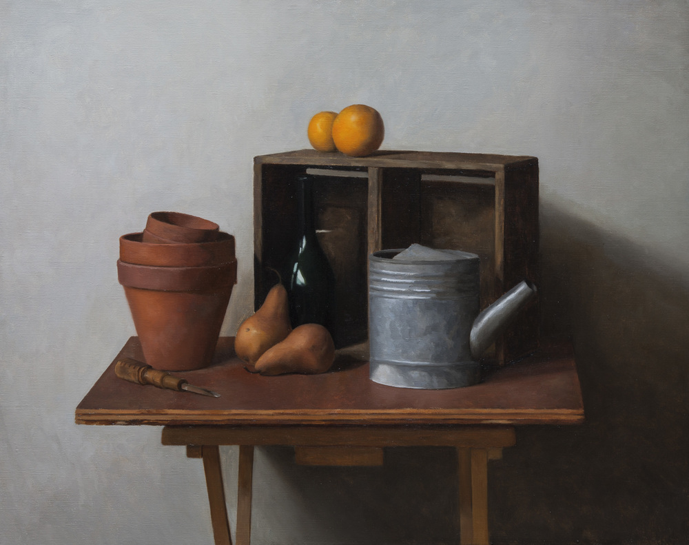 Still Life with Pears and Oranges. 20x25. Oil on Canvas