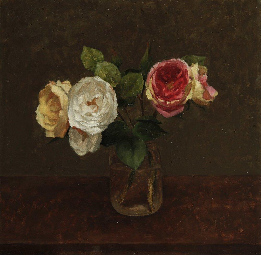 Roses in a Mason Jar.