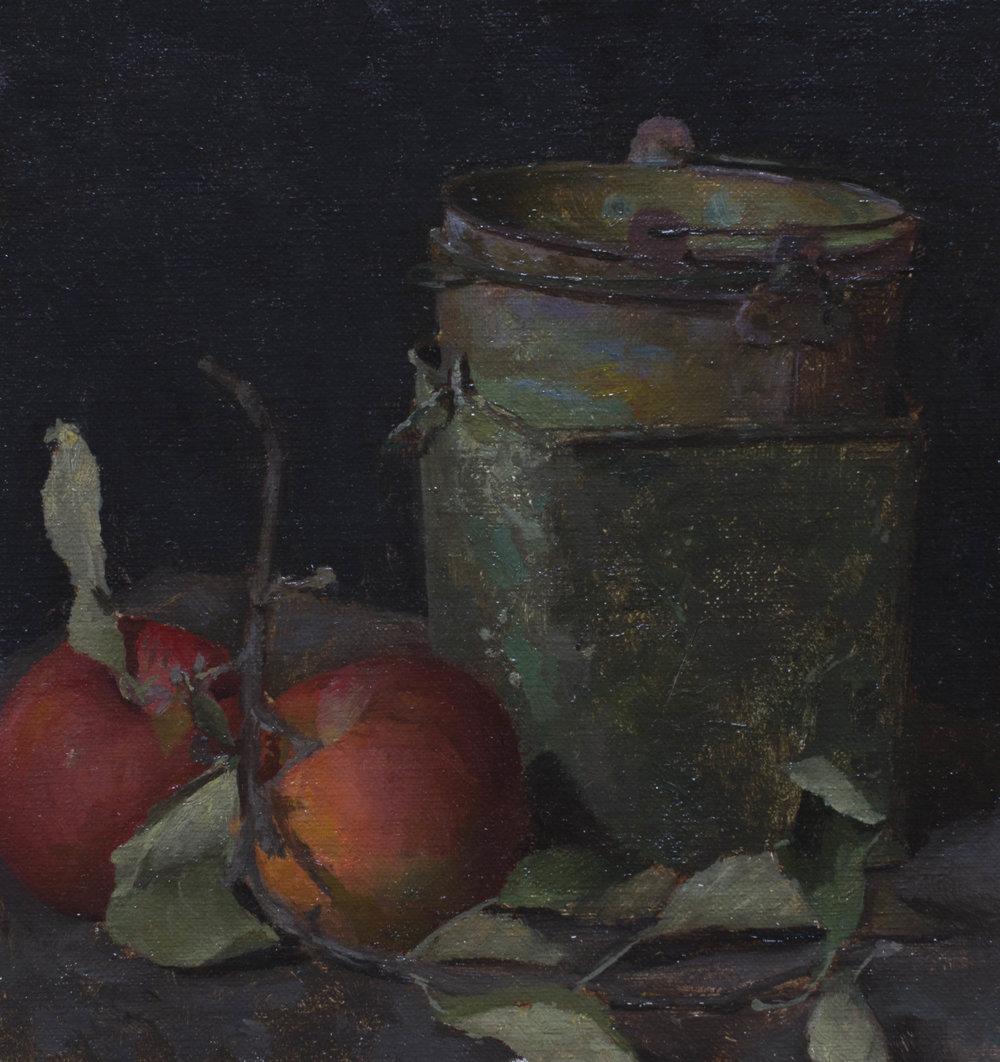 Apple Harvest. Oil on Panel. 5x5