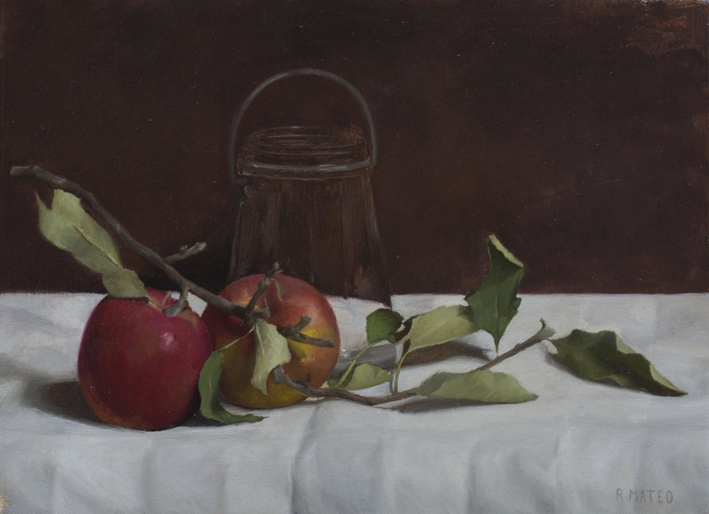 Still Life with Apples. 9x12. Oil on Canvas