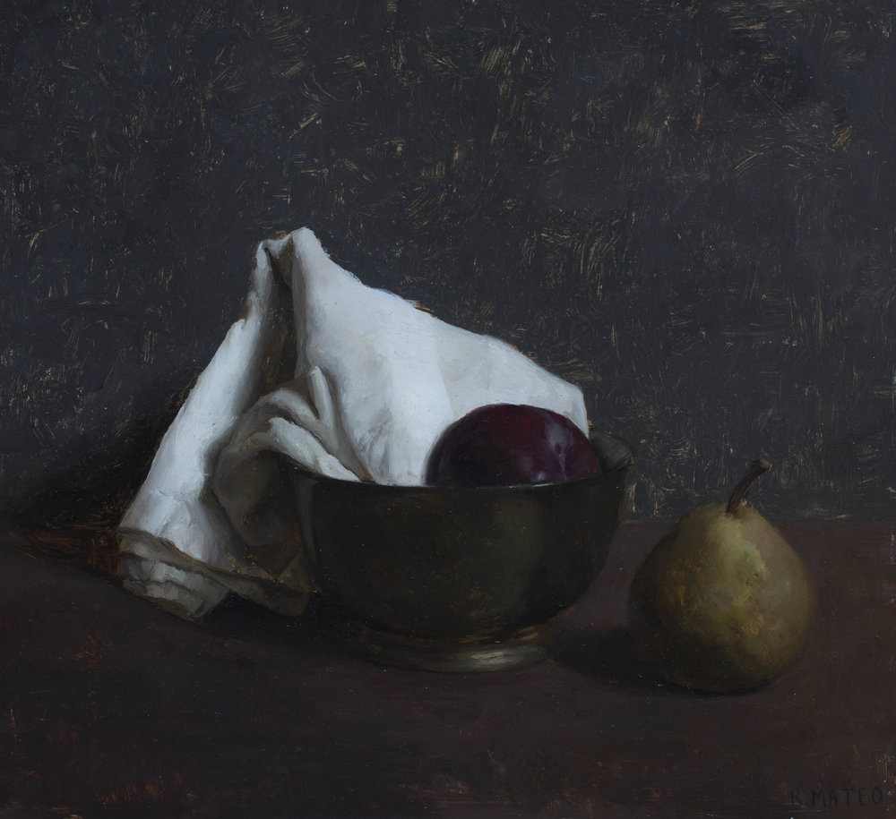 Bowl with Fruit. 8x9. Oil on Panel