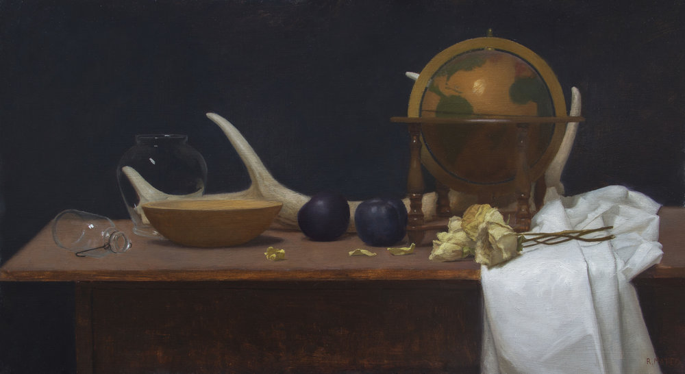 Still Life with Globe. 15x27. Oil on Panel