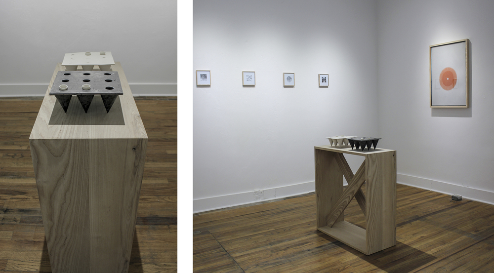 two the nines:  cast porcelain and cast iron on ash pedestal. 2015