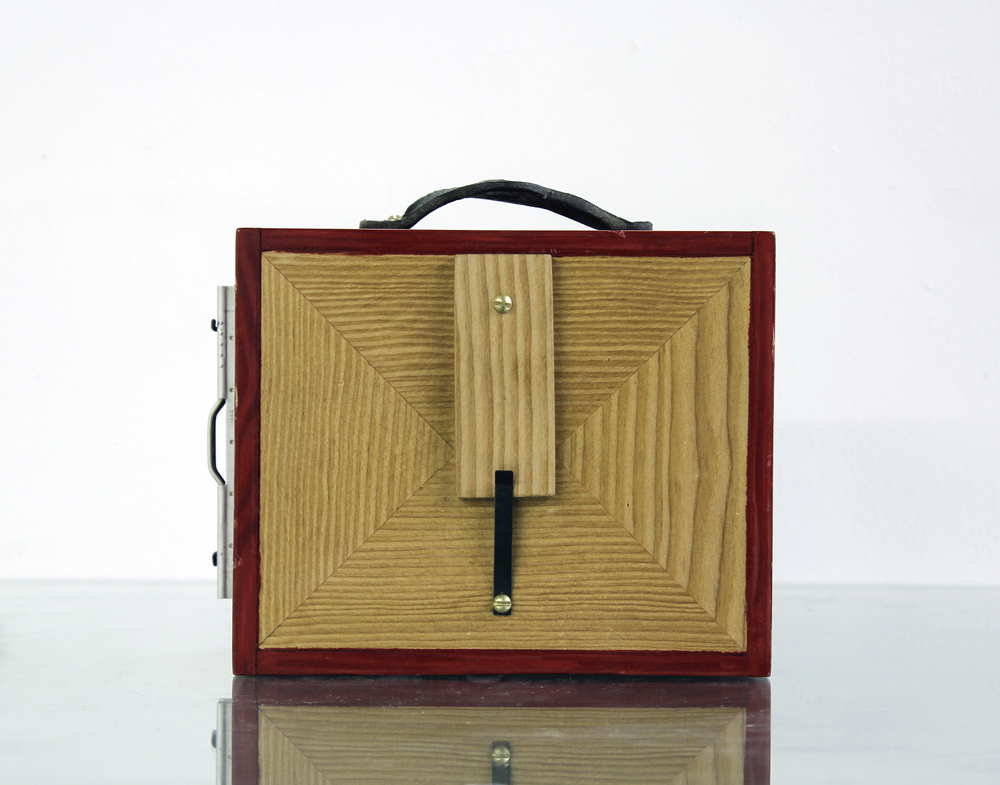 The DF72 : Douglas Fir pinhole camera. Designed to see expanse. 4x5 film. .35mm aperture, 72mm focal length. 2014.