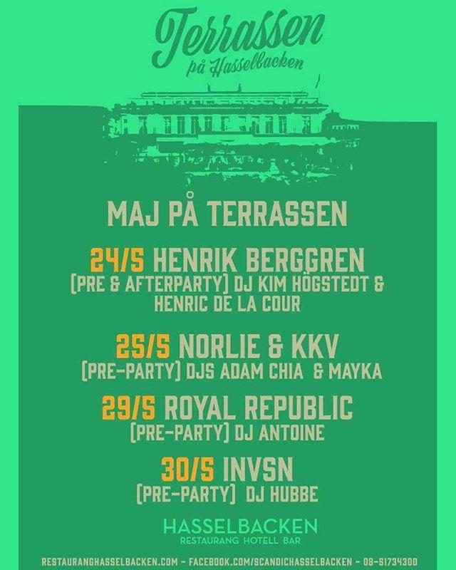 Det är i maj månad det händer! Kom och häng med oss på dessa datum, vi lovar grym musik, skönt häng och bra folk! (Törs inte lova bra väder men vi ska göra vårt bästa) ☉😎 #scandichasselbacken #djurgårdensbästatetrass #Djurgården #restauranghasselbacken