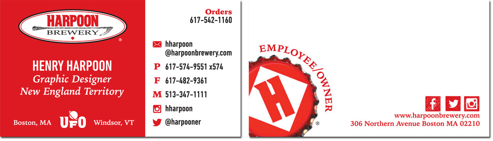Completely new Print: Harpoon Business Cards — Amanda Jonovski LX28