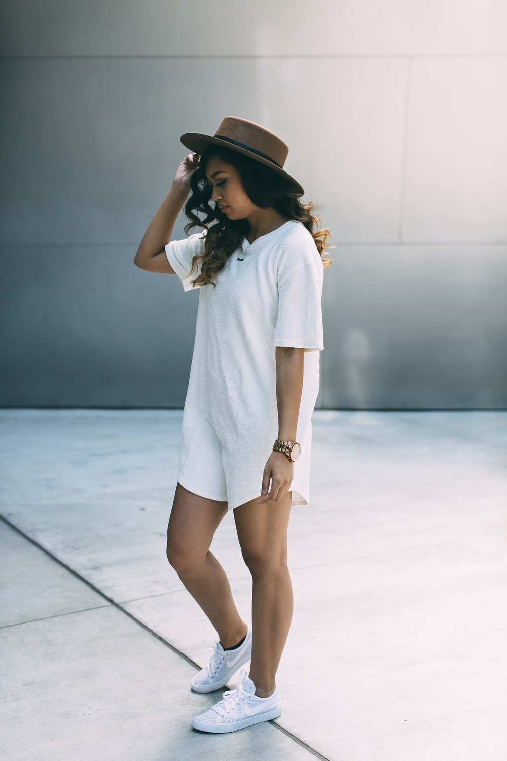 FOREVER 21 HAT  |  KNYEW E-LONG TEE  |  NIKE SHOES