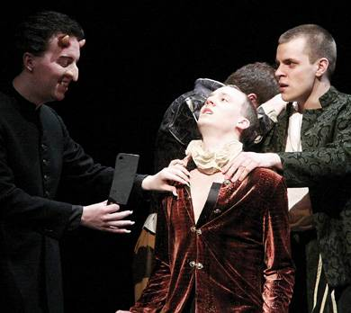 Ryan LaPlante, Erik Smith and Austin Schaefer in Vagabond's production of The Merchant (Supplied)