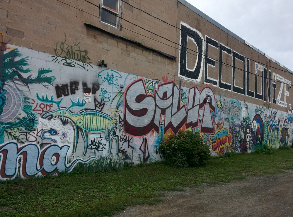 The exterior mural on the 180 Projects art space in Sault Ste. Marie.