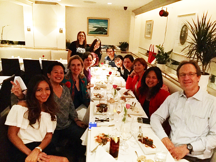 Filipino and Filipino-American Young Global LeadersAyesha Vera-Yu, Earl Valencia, and Analisa Balares co-host a Filipino Restaurants Week dinner event at Maison Hugo, together with restaurant co-owner Michelle Hugo