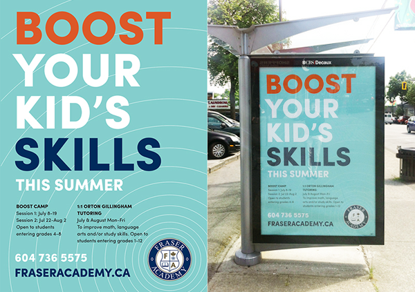To promote  After3 Tutoring  and Boost Camp, the Academy's summer program, we created bold and eye-catching transit shelter posters.