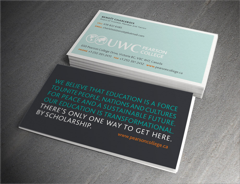 Business card design, featuring the college's positioning statement.