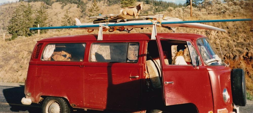The author, circa 1988, in her then boyfriend's classic 1972 VW van.