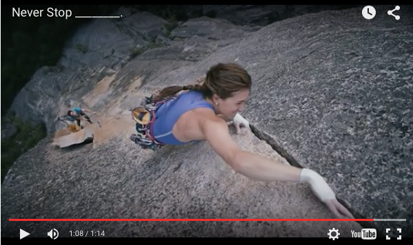 I feel like I'm betraying Patagonia by writing this, but what an inspiring spot from North Face. I'm posting in honour of my adventurous daughter. Fanny, never stop [insert action verb].