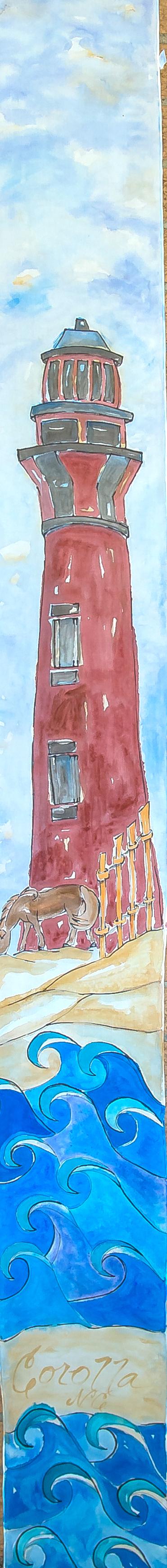 "Whimsical Currituck Lighthouse 14""x72"" $75"