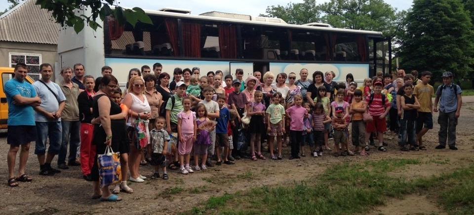 Refugees from Eastern Ukraine preparing to evacuate June 2014