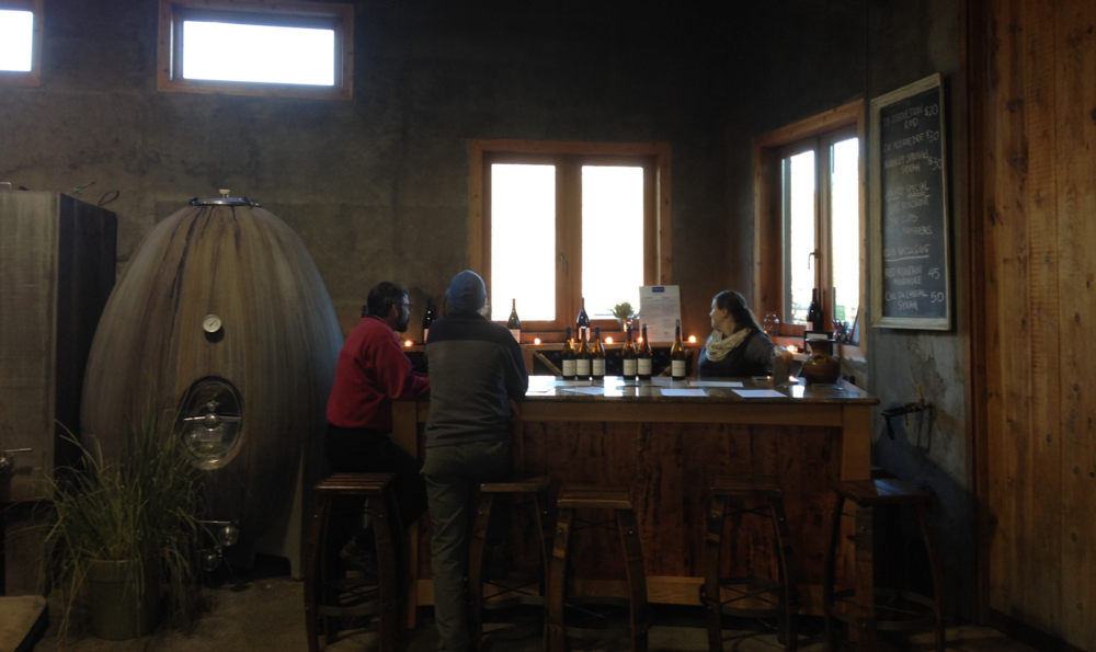 Syncline's cozy tasting room nestled in a corner of the winery. Credit: Mat Elmore