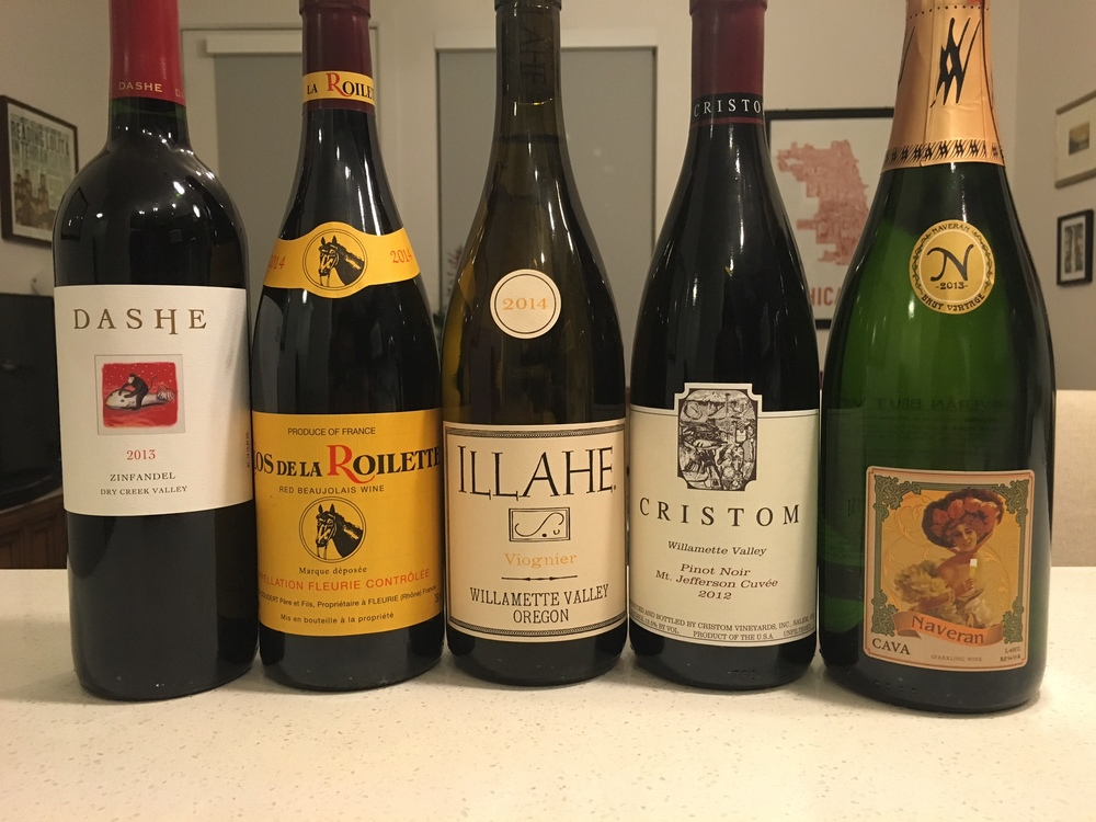 A few of the wines I chose for my Thanksgiving for a group of 7.