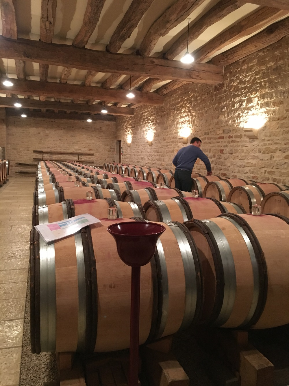 Jacques assessing the barrels for tasting.